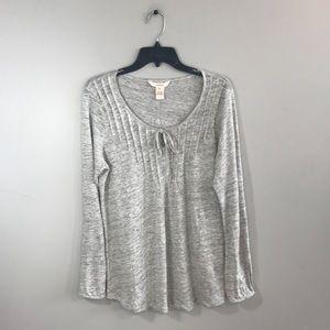 Sundance 100% Linen Gray Long Sleeve Top